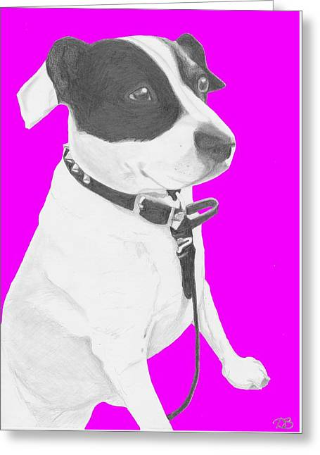 Jack Russell Cross With Pink Background Greeting Card