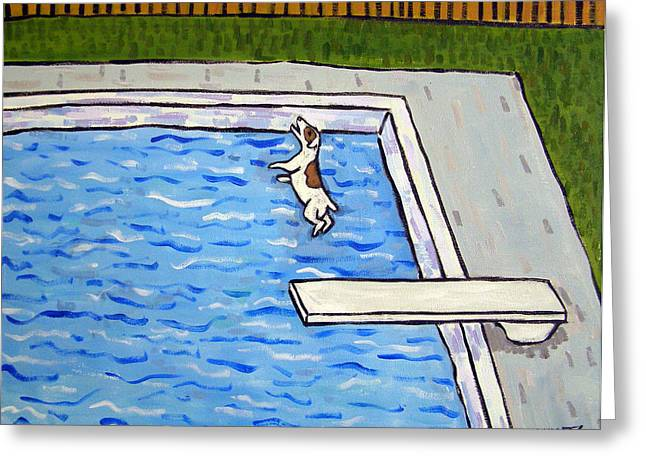 Jack Russell Terrier Diving  Greeting Card