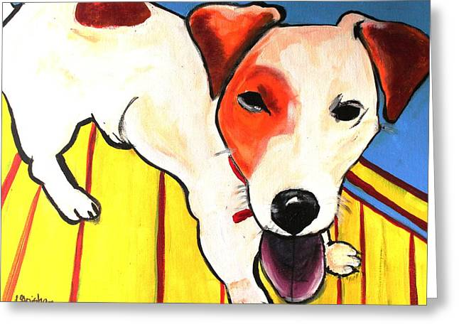 Greeting Card featuring the painting Jack Russell Terrior- Peanut by Laura  Grisham
