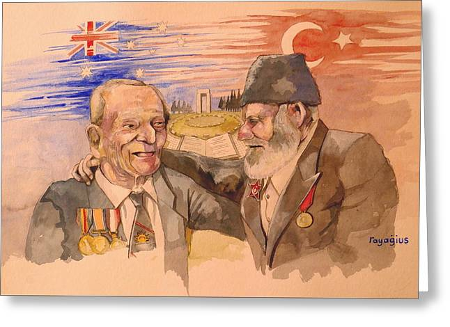Greeting Card featuring the painting Jack Ryan And Hyseyin Kacmaz by Ray Agius