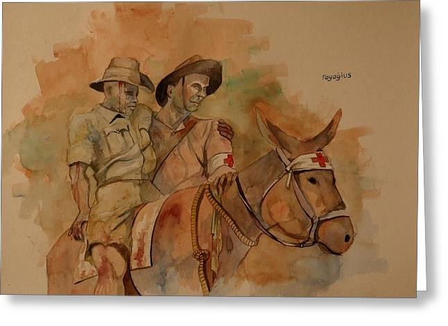 Greeting Card featuring the painting Jack Simpson And Duffy by Ray Agius