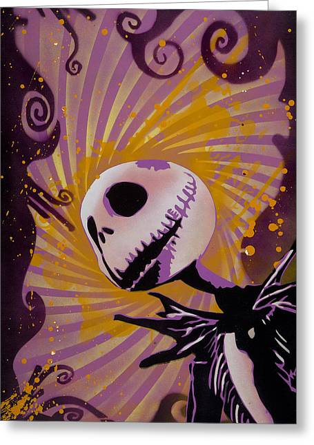Stencil Spray Greeting Cards - Jack Skellington Greeting Card by Iosua Tai Taeoalii