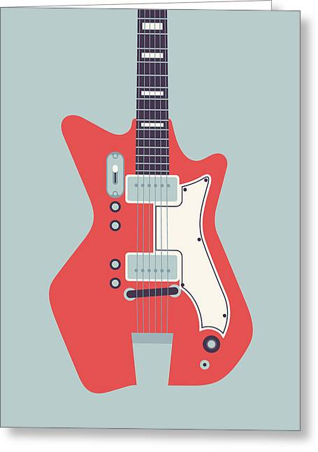 Jack White Jb Hutto Montgomery Ward Airline Guitar - Grey Greeting Card by Ivan Krpan