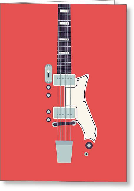 Jack White Jb Hutto Montgomery Ward Airline Guitar - Red Greeting Card by Ivan Krpan