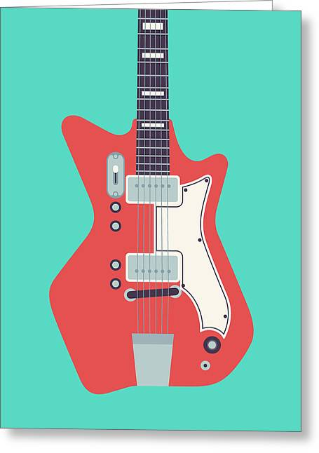 Jack White Jb Hutto Montgomery Ward Airline Guitar - Teal Greeting Card by Ivan Krpan