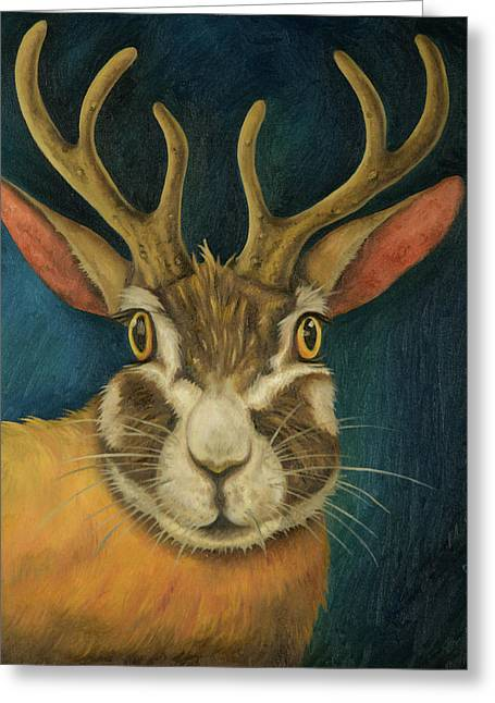 Jackalope Greeting Card by Leah Saulnier The Painting Maniac