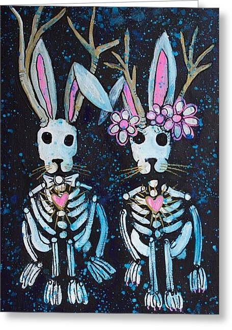 Greeting Card featuring the painting Jackalope Love by Laurie Maves ART