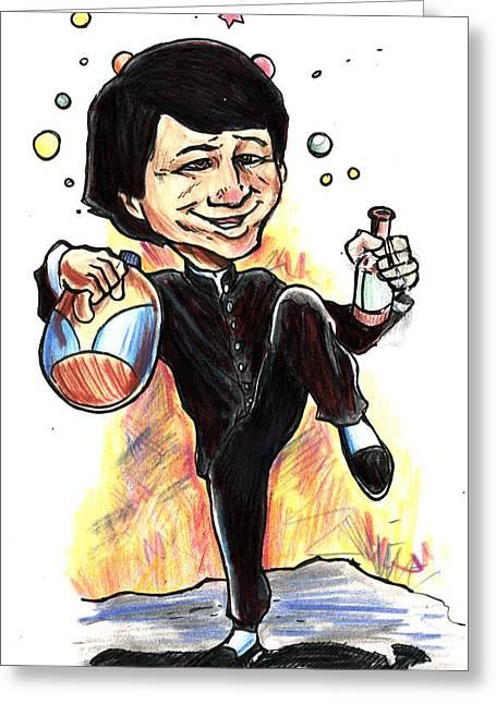 Greeting Card featuring the drawing Jackie Chan Drunken Master by John Ashton Golden