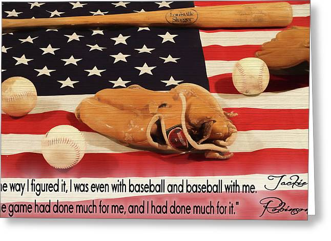 Jackie Robinson Baseball Quote Greeting Card by Dan Sproul