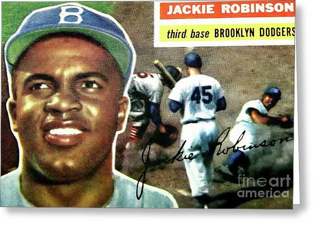 Jackie Robinson-brooklyn Dodger Greeting Card by Arnie Goldstein