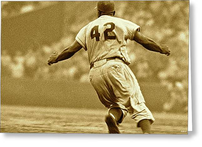Jackie Robinson, Number 42, Brooklyn Dodgers Greeting Card by Thomas Pollart