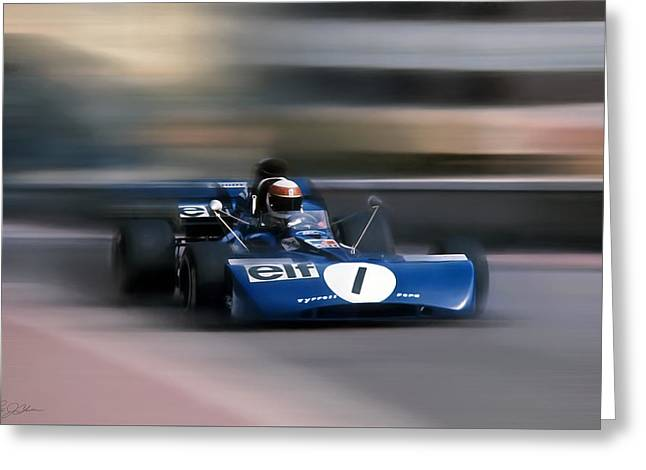 Jackie Stewart The Flying Scot Greeting Card by Peter Chilelli