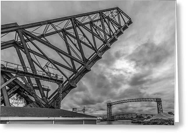 Jackknife Bridge To The Clouds B And W Greeting Card