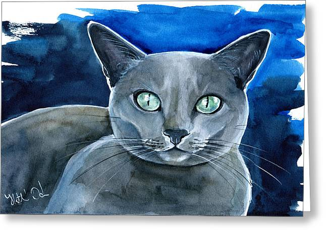 Jackpot - Russian Blue Cat Painting Greeting Card