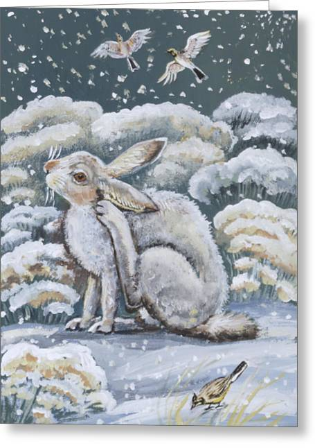 Jackrabbit And Horned Larks Greeting Card