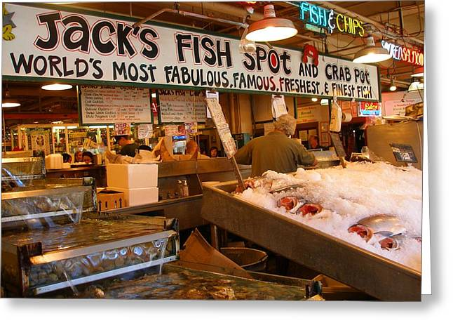 Jacks Fish Spot And Crab Pot-seattle Pike Place Market Greeting Card by Candace Garcia