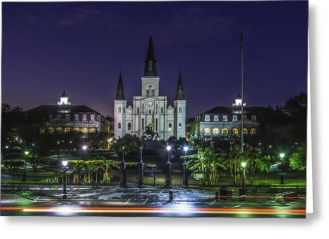 Jackson Square And St. Louis Cathedral At Dawn, New Orleans, Louisiana Greeting Card