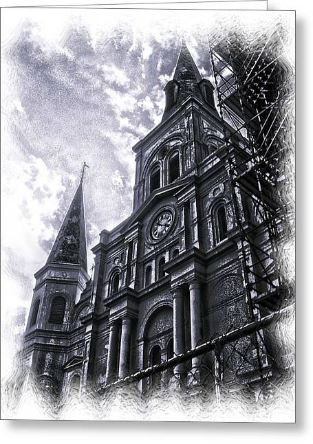 Jackson Square Cathedral Greeting Card by Linda Kish