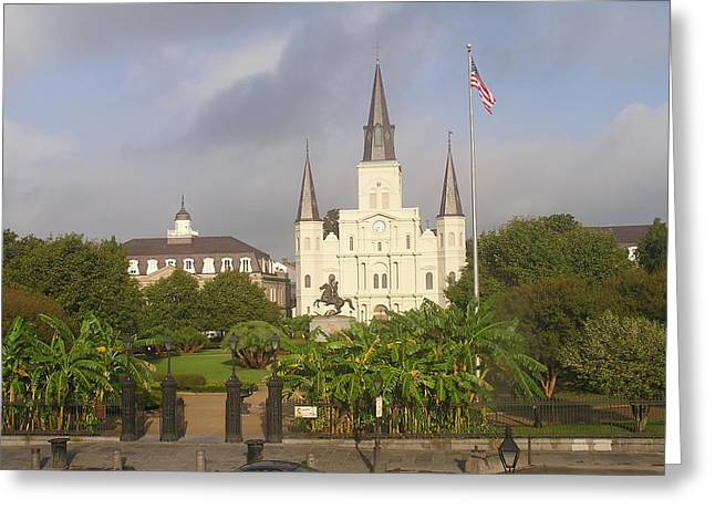 Jackson Square Morning Greeting Card by Jack Herrington