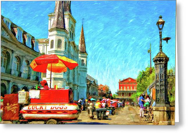 Jackson Square Oil Greeting Card by Steve Harrington