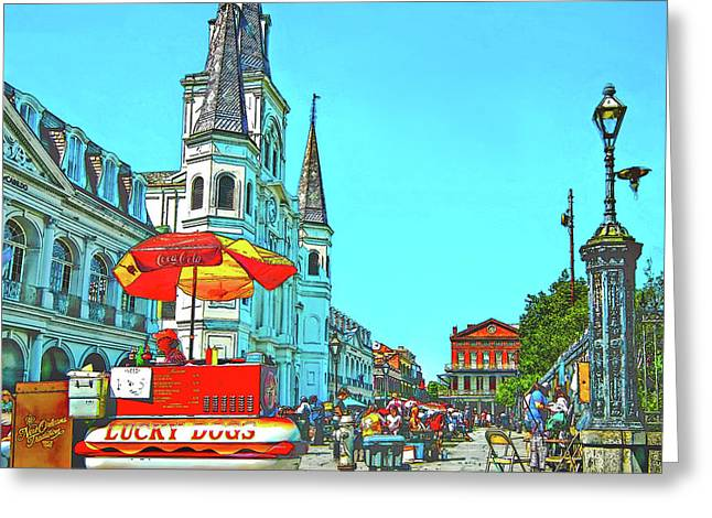 Jackson Square Sketch Greeting Card by Steve Harrington