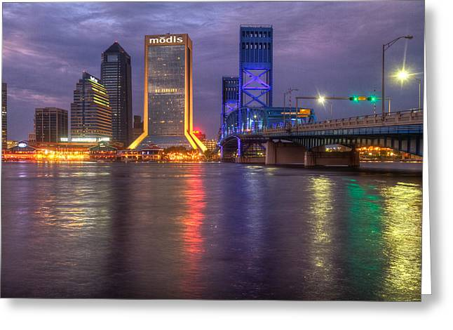 Jacksonville At Dusk Greeting Card by Debra and Dave Vanderlaan