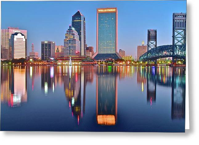 Jacksonville Florida At Daybreak Greeting Card by Frozen in Time Fine Art Photography
