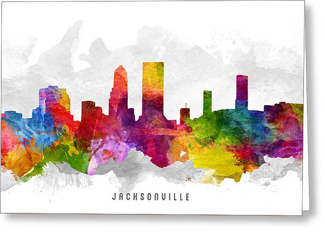 Jacksonville Greeting Cards - Jacksonville Florida Cityscape 13 Greeting Card by Aged Pixel