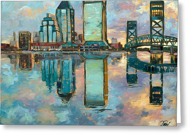 Jacksonville In The Morning Greeting Card by Jami Childers