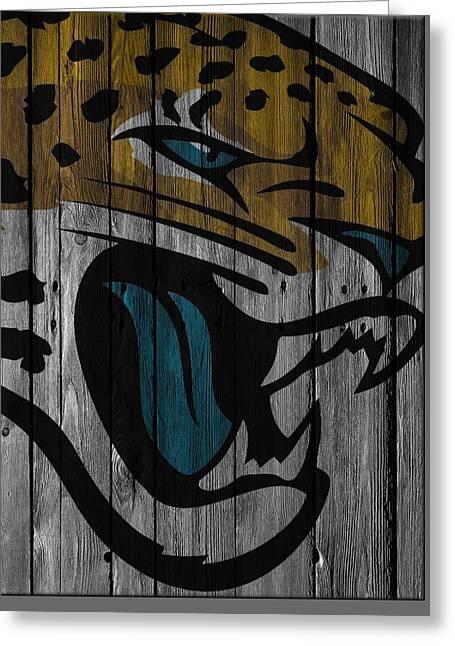 Jacksonville Jaguars Wood Fence Greeting Card by Joe Hamilton