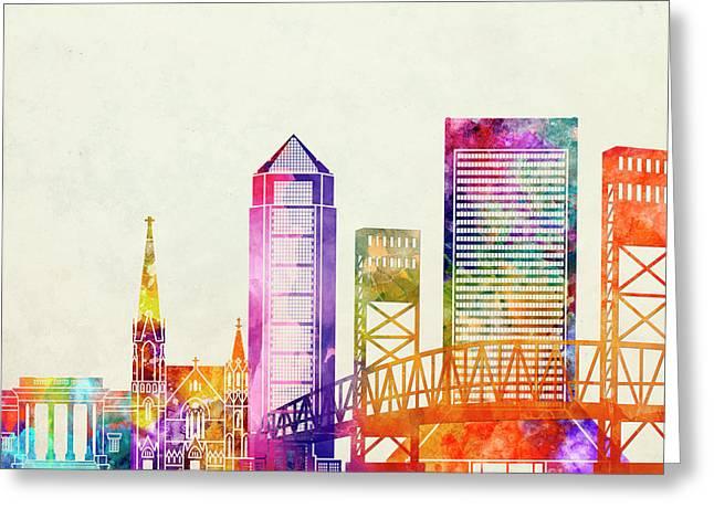 Jacksonville Landmarks Watercolor Poster Greeting Card by Pablo Romero
