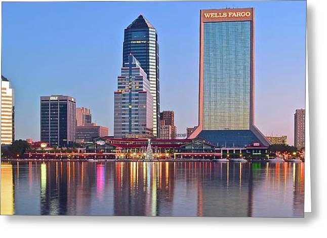 Jacksonville Pano At Dawn Greeting Card