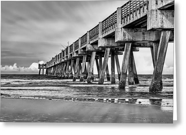 Jacksonville Beach Pier In Black And White Greeting Card