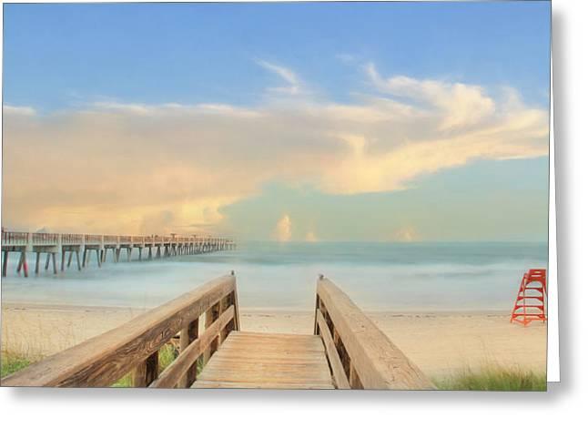 Jacksonville Pier Greeting Card by Lori Deiter