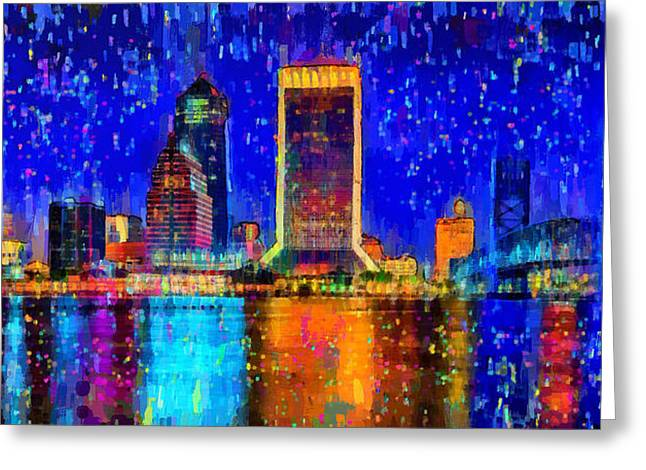 Jacksonville Skyline 100 - Da Greeting Card by Leonardo Digenio
