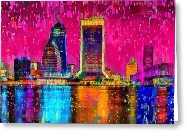 Jacksonville Skyline 102 - Da Greeting Card by Leonardo Digenio