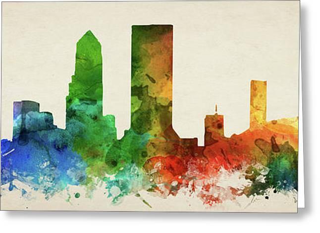 Jacksonville Skyline Panorama Usflja-pa03 Greeting Card