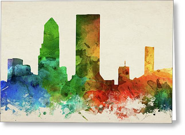 Jacksonville Skyline Panorama Usflja-pa03 Greeting Card by Aged Pixel