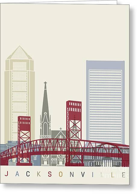 Jacksonville Skyline Poster Greeting Card by Pablo Romero