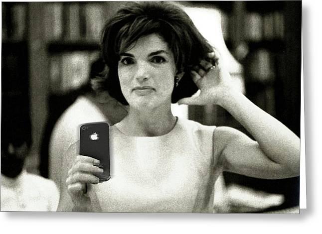 Jacky Kennedy Takes A Selfie Small Version Greeting Card by Tony Rubino