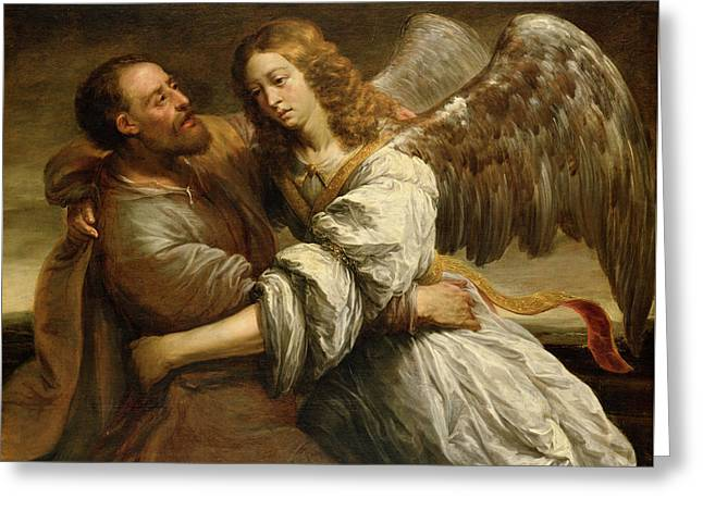 Jacob Fighting The Angel Greeting Card