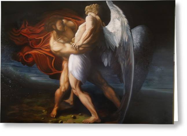Jacob Wrestling The Angel Greeting Card by Paul Gilbert Baswell