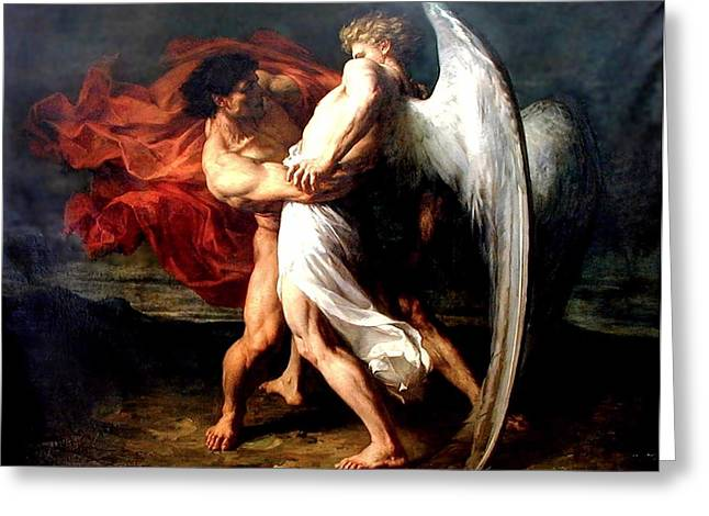 Jacob Wrestling With The Angel Greeting Card by Alexander Louis Leloir