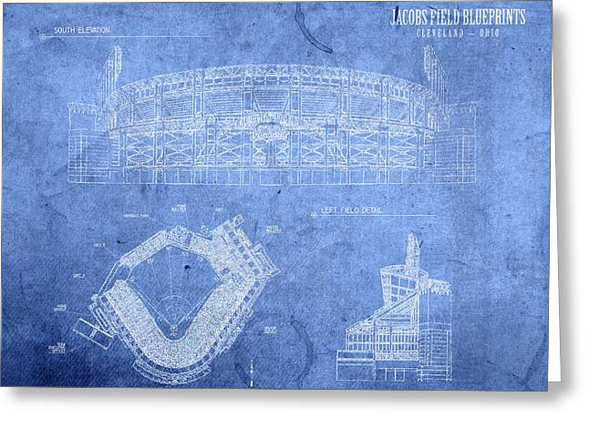 Jacobs Field Cleveland Indians Ohio Baseball Team Field Blueprints Greeting Card