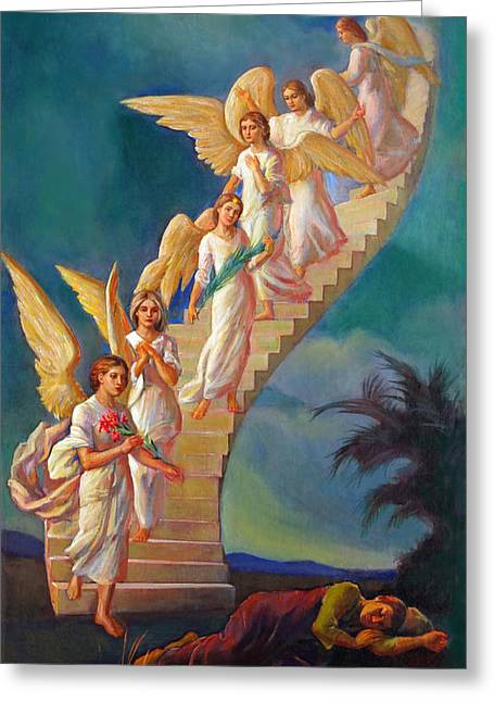 Greeting Card featuring the painting Jacob's Ladder - Jacob's Dream by Svitozar Nenyuk
