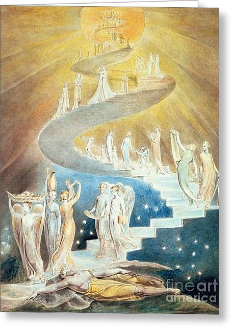 Jacobs Ladder Greeting Card by William Blake
