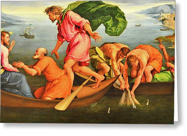 Greeting Card featuring the photograph Jacopo Bassano Fishes Miracle by Munir Alawi