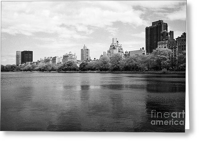 jacqueline kennedy onassis reservoir central park with view of apartment buildings upper east side N Greeting Card