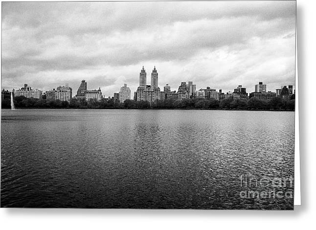 Jacqueline Kennedy Onassis Reservoir Central Park With View Of Upper West Side On Dull Overcast Day  Greeting Card