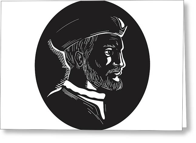 Jacques Cartier French Explorer Oval Woodcut Greeting Card by Aloysius Patrimonio